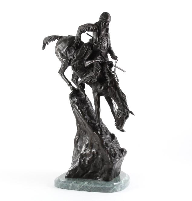 After F. Remington Mountain Man Bronze Sculpture