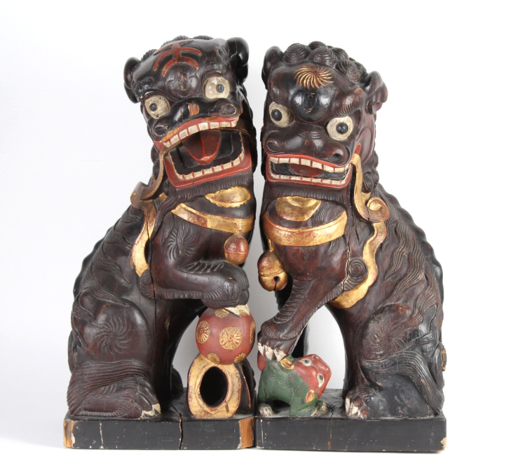 PAIR of Antique Carved Lacquered Chinese Foo Dogs