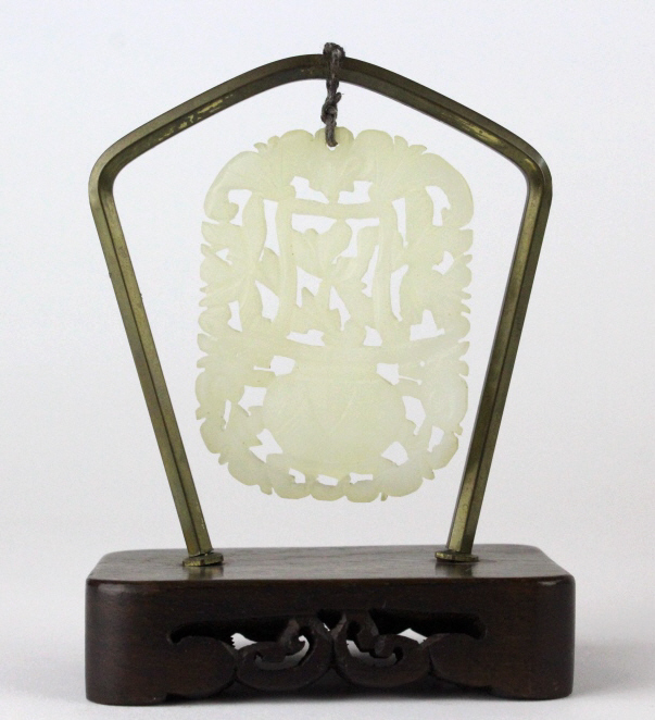 Chinese Carved White Jade Filigree Floral Plaque