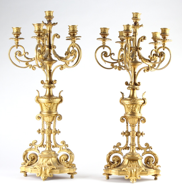 Pair Fine French Dore Bronze 6 Light Candelabras