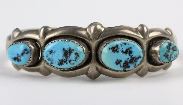 KEONI American Indian Silver Turquoise Bracelet