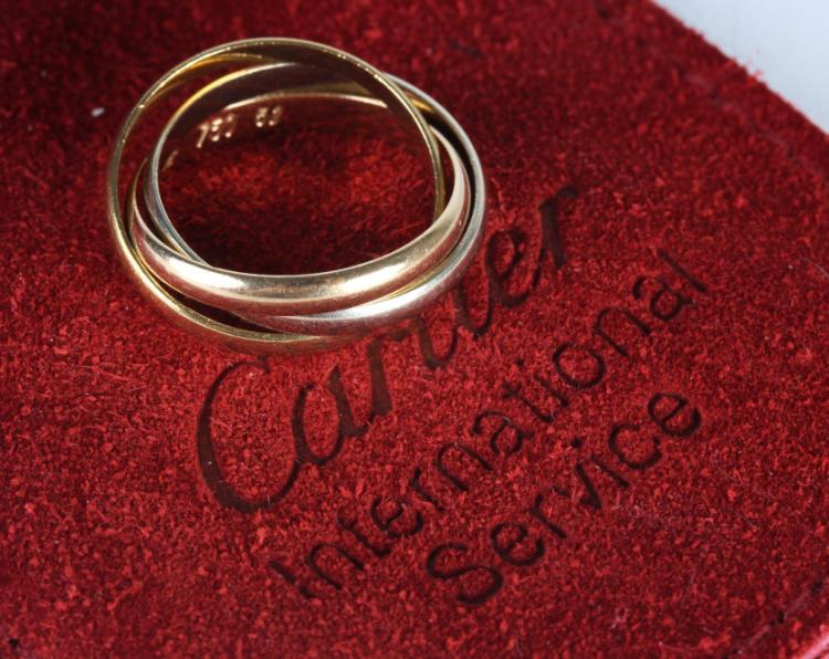 Cartier France Tri Color 18k Gold Rolling Ring 5.5