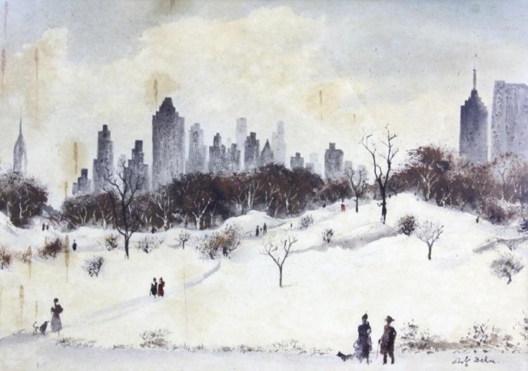 ADOLF DEHN Central Park Winter Landscape Painting