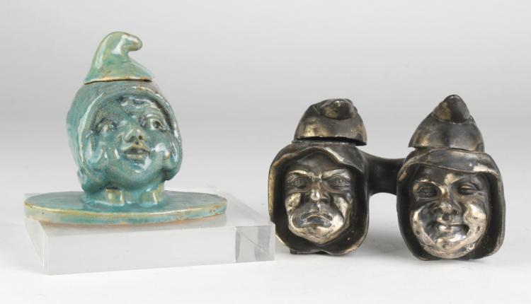 Lot of 2 Gnome Elf Pixie Ceramic & Metal Inkwell