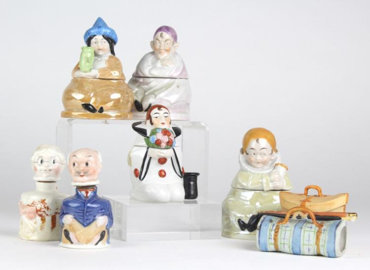 ESTATE LOT of 7 Antique Porcelain Figural Inkwell