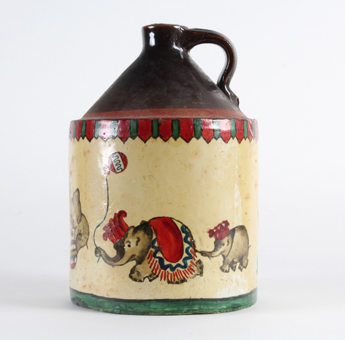 OLD Folk Art Painted Circus Stoneware Pottery Jug