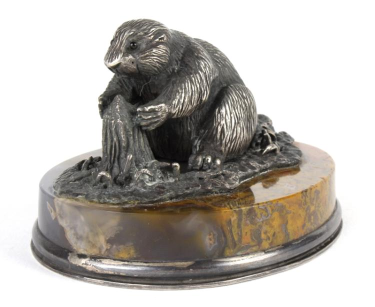 Antique Russian 84 Silver Beaver on Agate Base