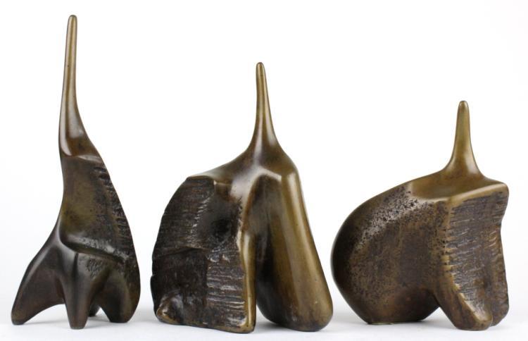 Aharone Bezalel 3 Seated Figures Bronze Sculptures