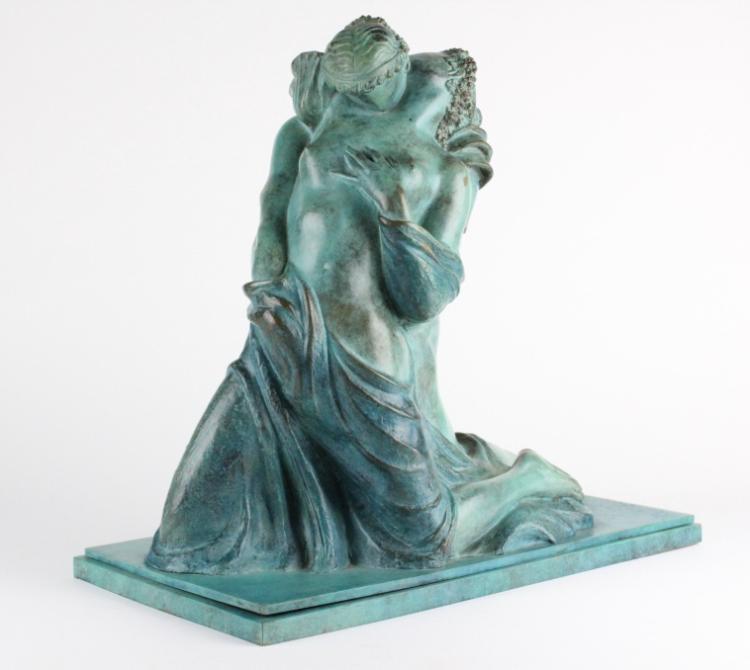 ALBA GONZALES Italian Nude Lovers Bronze Sculpture