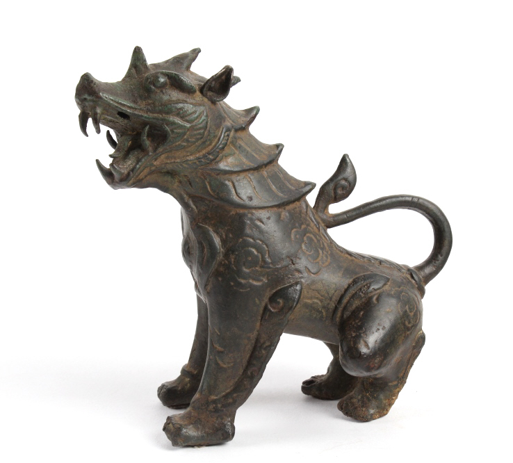 Old Chinese Fierce Foo Lion Dog Bronze 6