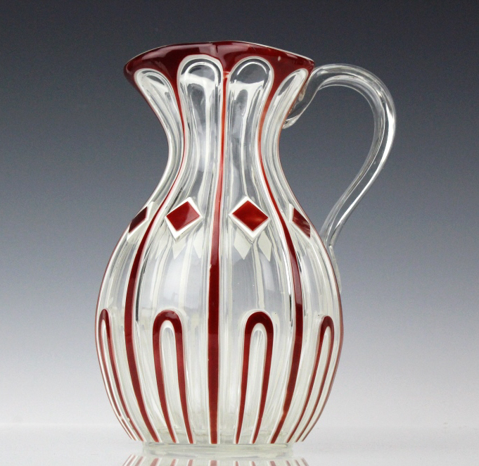 Exceptional Ruby Red Cut To Clear Crystal Pitcher