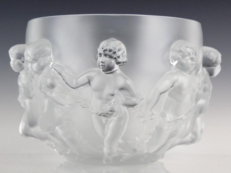Lalique Luxembourg French Art Glass Bowl Vase 13