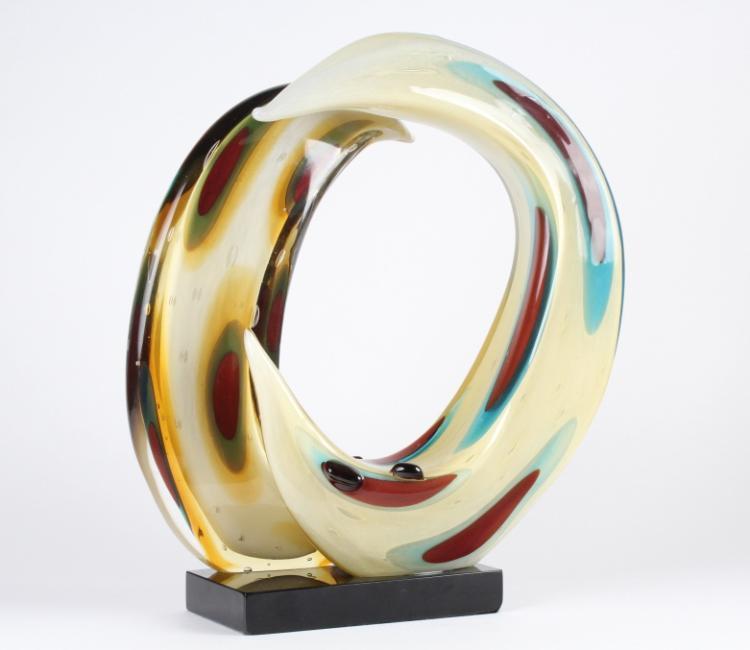 SIGNED Murano Italian Art Glass Abstract Sculpture