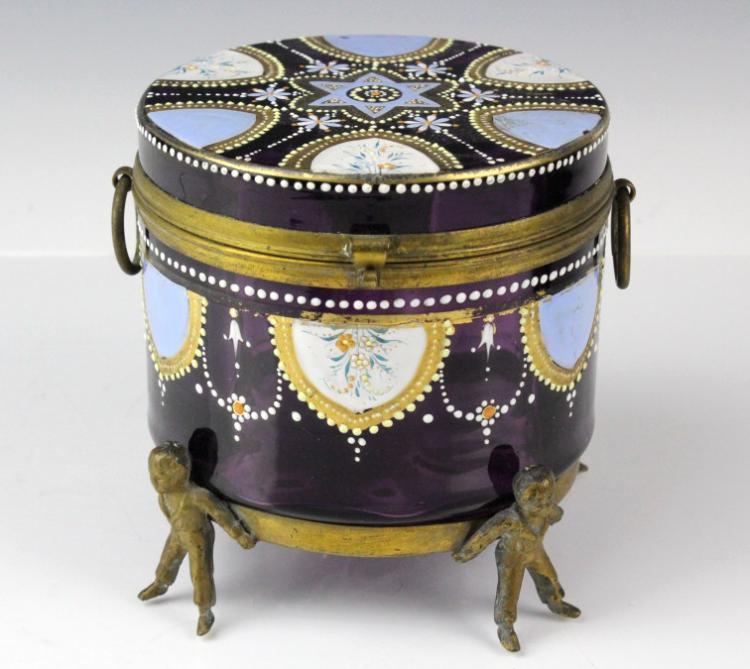 Victorian Era Enameled Amethyst Glass Casket Box