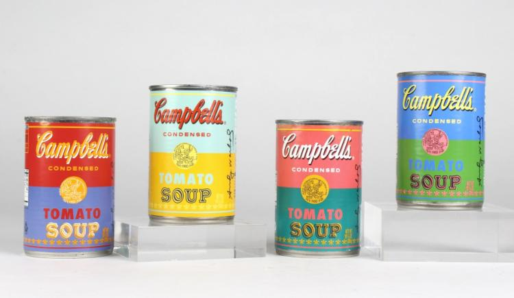 4 x ANDY WARHOL Pop Art LIMITED Campbells Soup Can