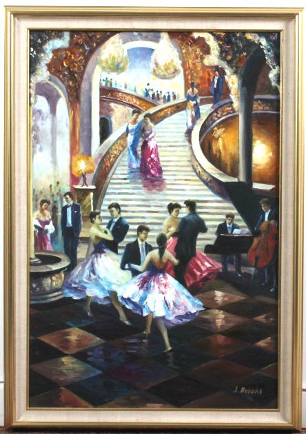 Signed J. Brooks Ballroom Scene Art Oil Paitning