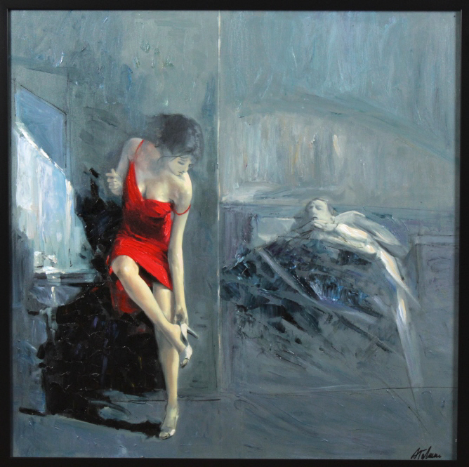 Antonio Tamburro LADY IN RED Embellished Giclee
