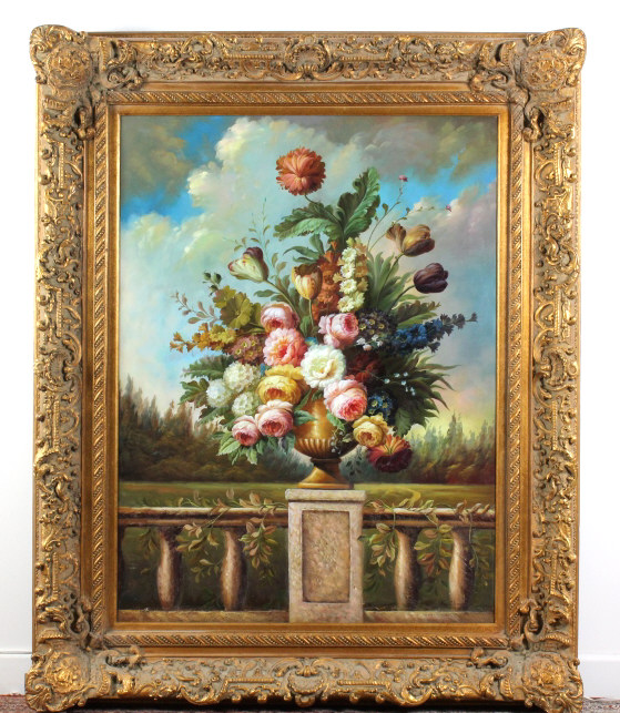 HUGE Signed K. Young Floral Oil On Canvas Painting