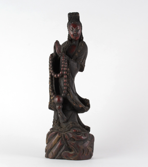 Antique Chinese Carved Wood Quan Yin Sculpture 18