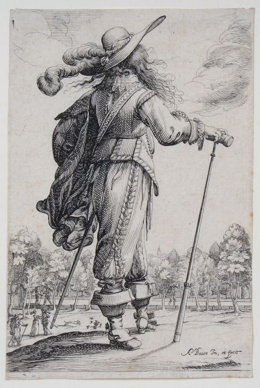 Abraham Bosse Man With Cane Etching BASS MUSEUM