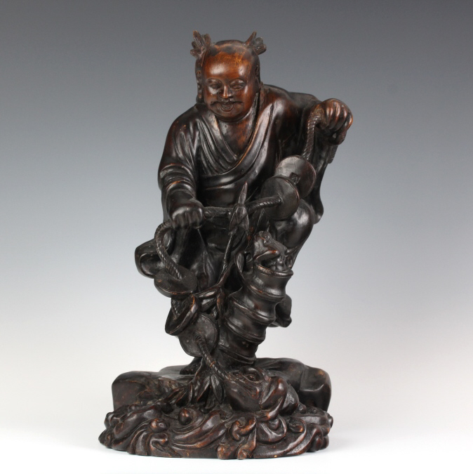 Chinese Hand Carved Figurative Fisherman Sculpture