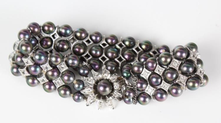 Estate Sterling Silver Pearl Beaded Jewelry Suite