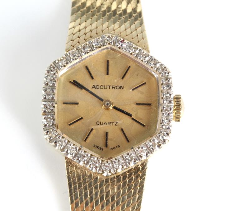 Bulova 14KT Gold Accutron Quartz Watch w/ Box