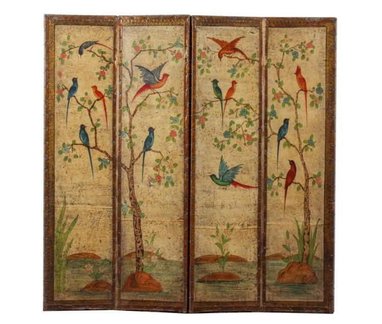 Painted 4 Paneled Leather Scroll Screen w/ Birds