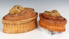 Pair Antique French Pillivuyt Rabbit Soup Tureens