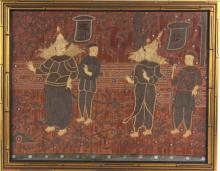 Old Thai Siam Asian Woven Figural Silk Tapestry