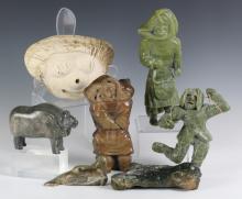 Lot 7 Signed Inuit Eskimo Stone, Bone Sculptures