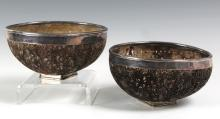 Pair Filigree Carved Silver Mounted Coconut Bowls