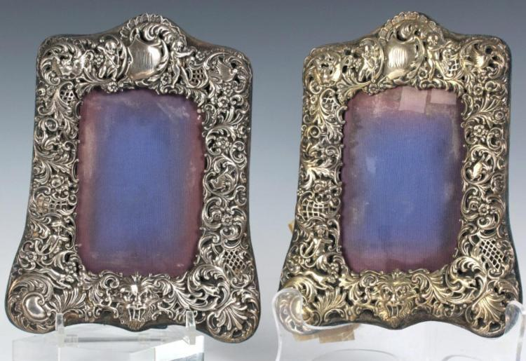 Pair Antique Sterling Silver Picture Photo Frame