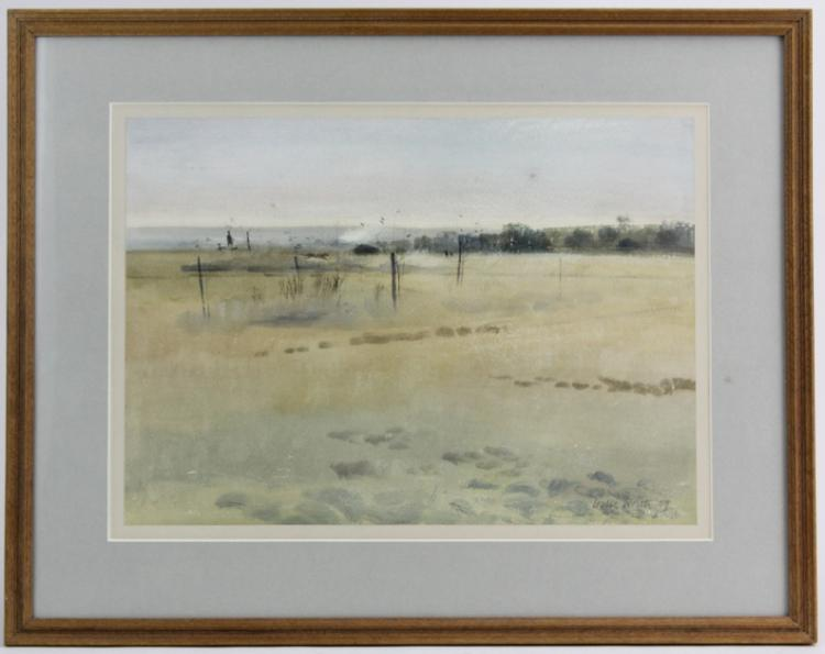 Signed leslie charles worth watercolor landscape painting li Paintings that are worth a lot of money