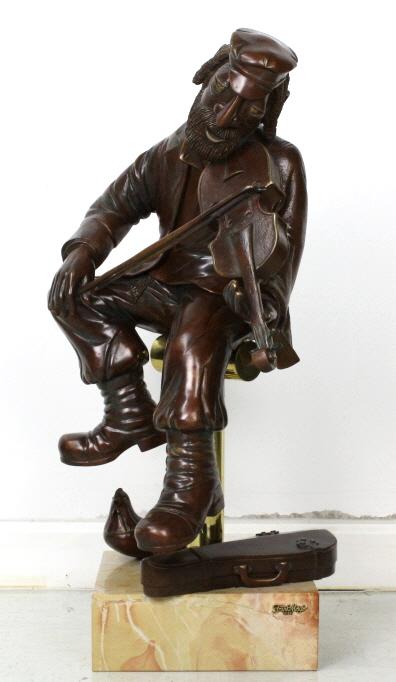 Rare Signed Frank Meisler Hasidic Fiddler Solid Bronze Statu