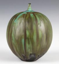 """Rose CABAT Green Feelie Art Vase 5 1/4"""" SIGNED"""