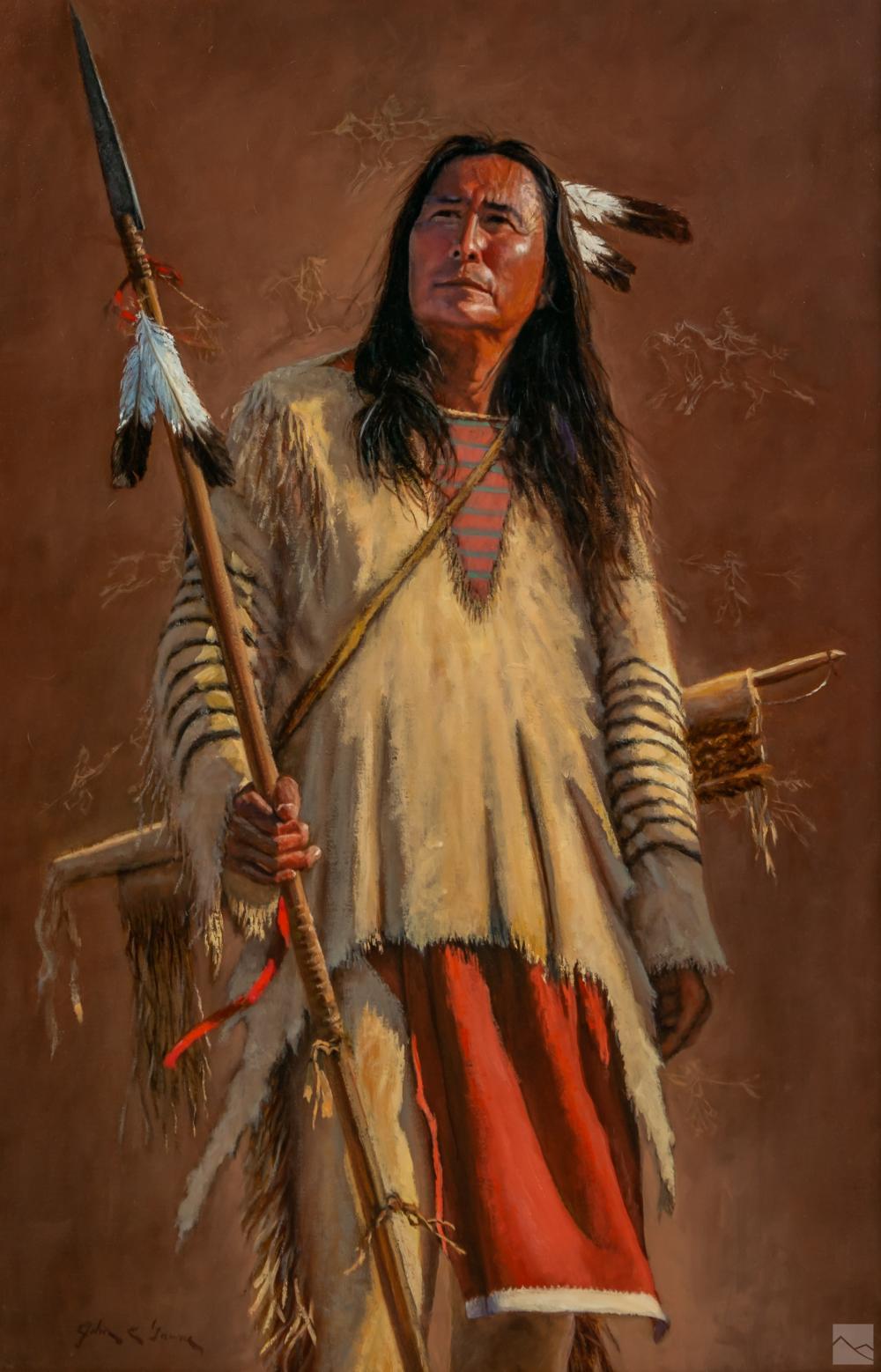 John Gawne b.1952 Native American Figural Painting