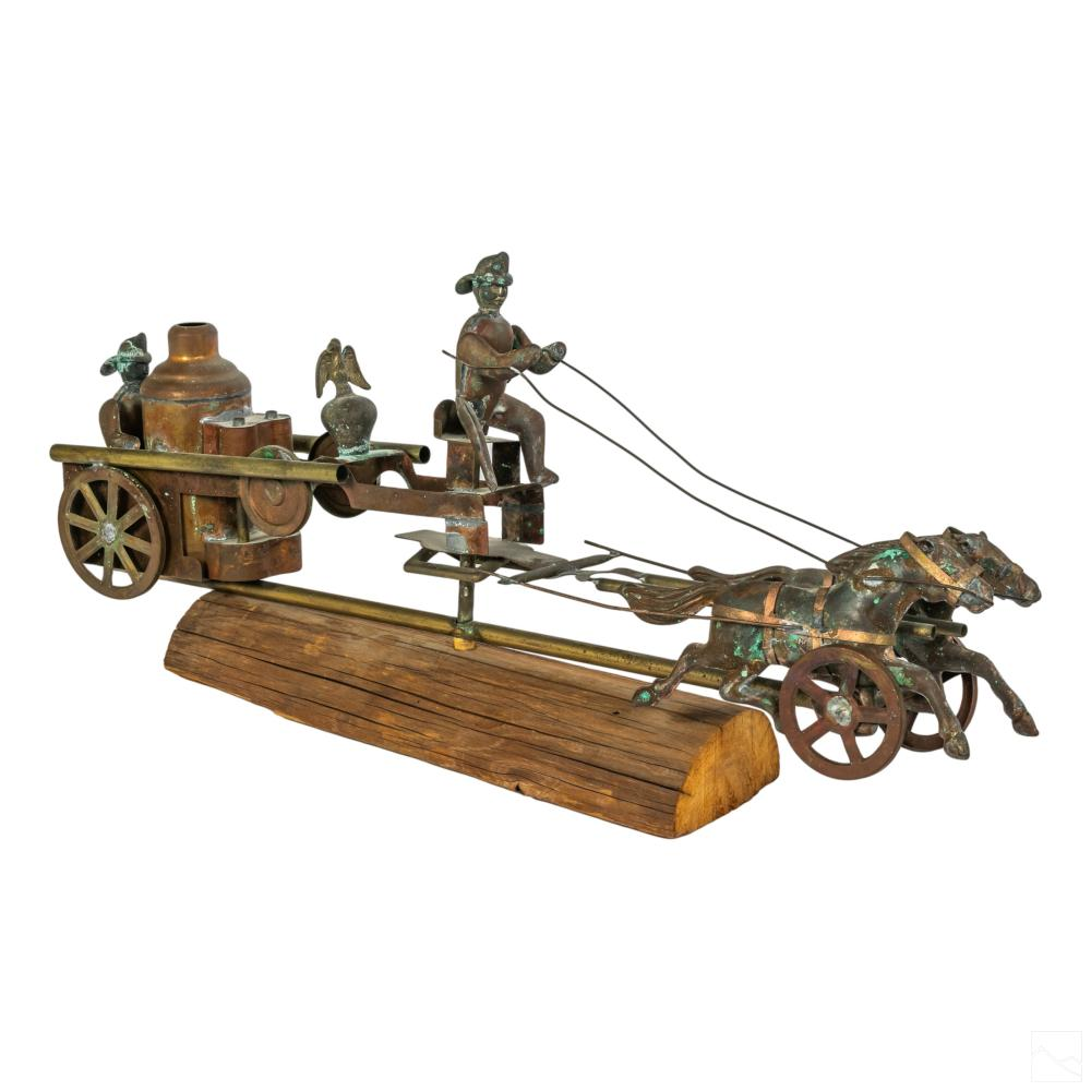 Firemen Horse Wagon Sculptural Copper Weather Vane