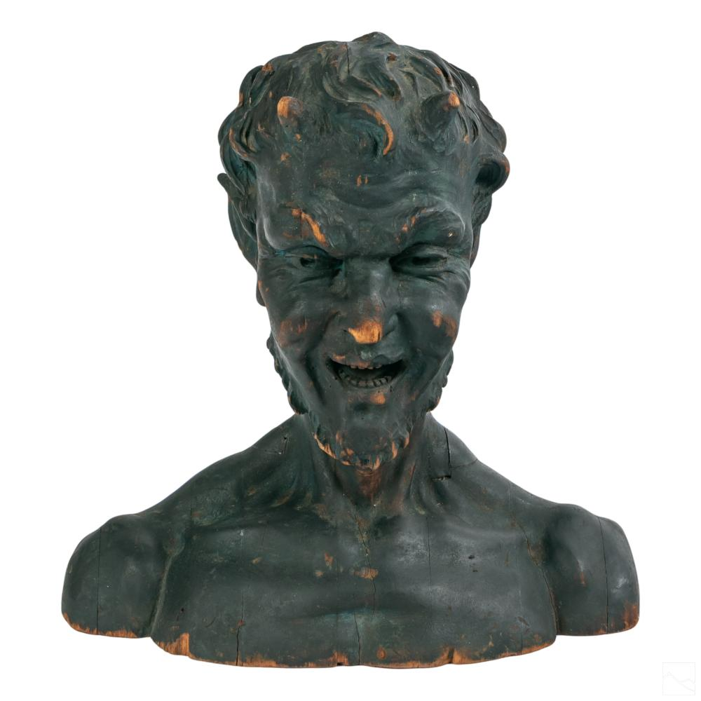 Signed Italian Old Carved Wood Pan Satyr Sculpture