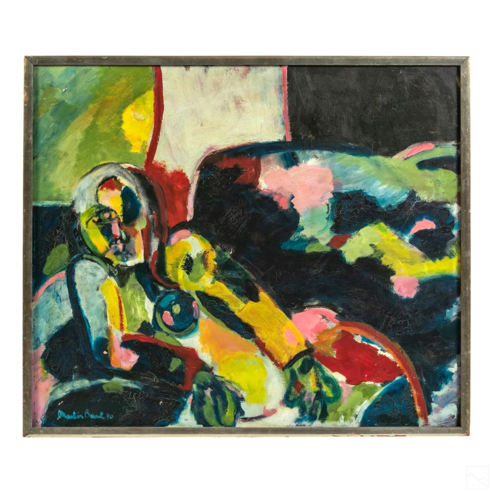 Modern Abstract Signed Figural Nude Oil Painting