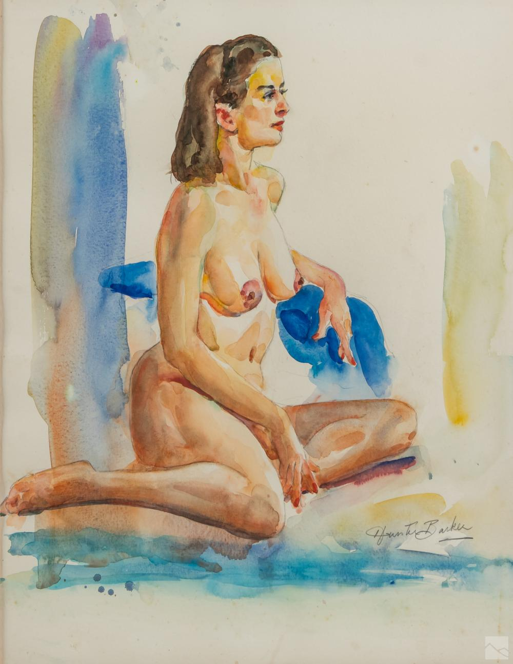Hunter Barker (1918-2010) Nude Watercolor Painting