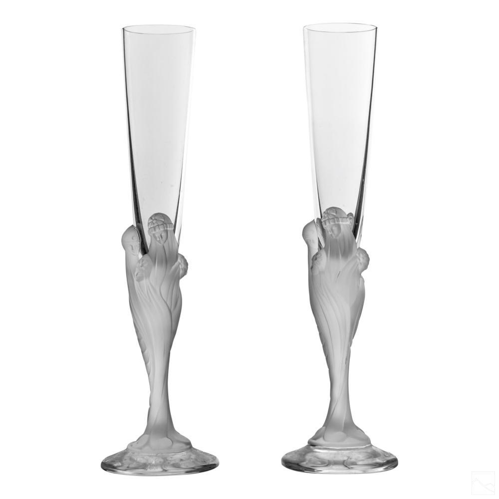 Erte Majestique Crystal Champagne Glass Flute PAIR