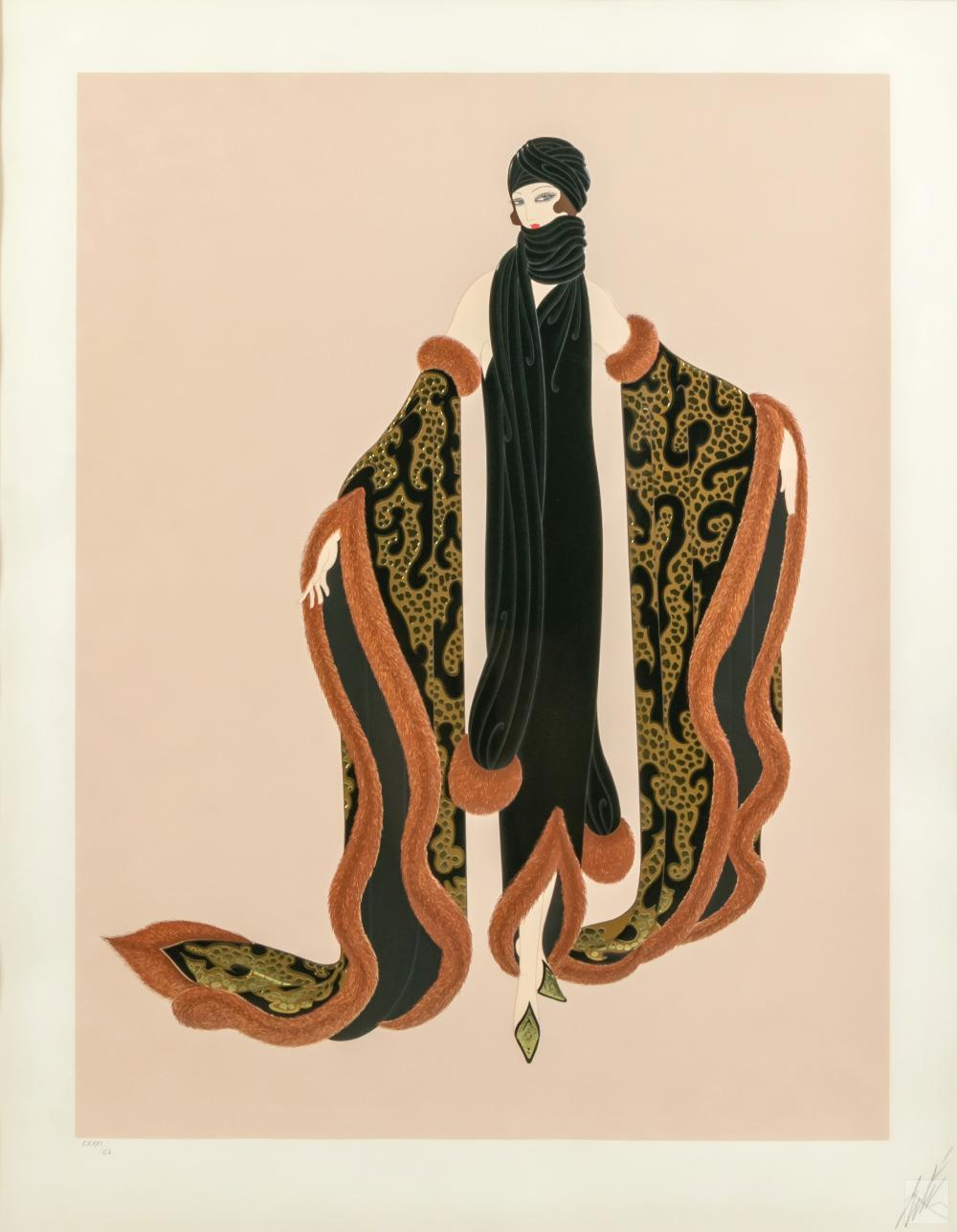 Erte (1892-1990) Fox Fur Signed Art Deco Serigraph