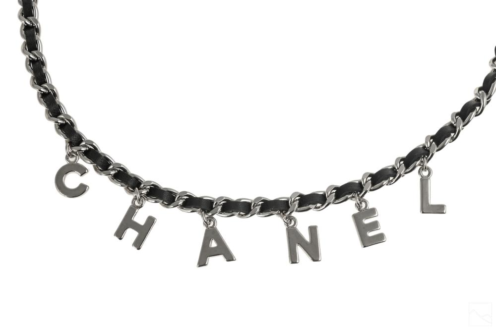 Chanel Ladies Black Leather and Silver Chain Belt