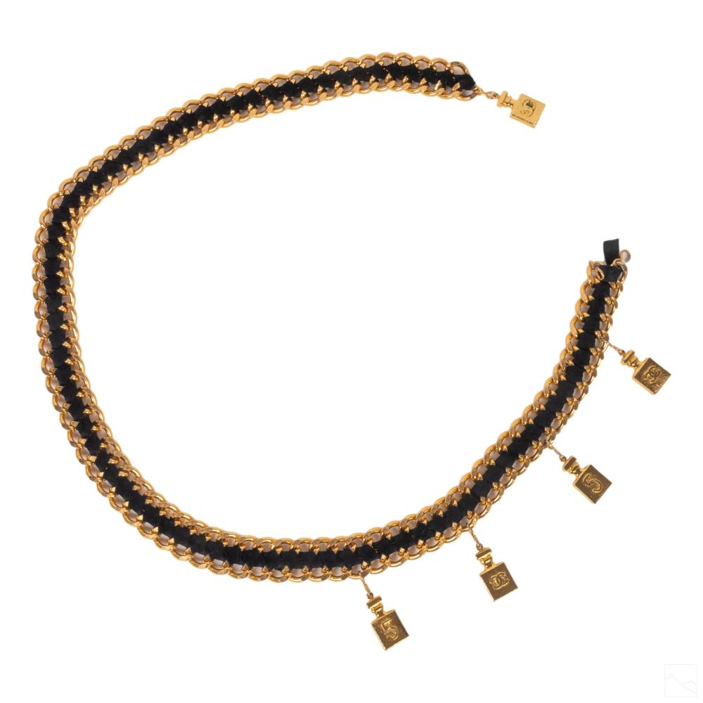 Chanel No. 5 Style Gold & Leather Link Ladies Belt