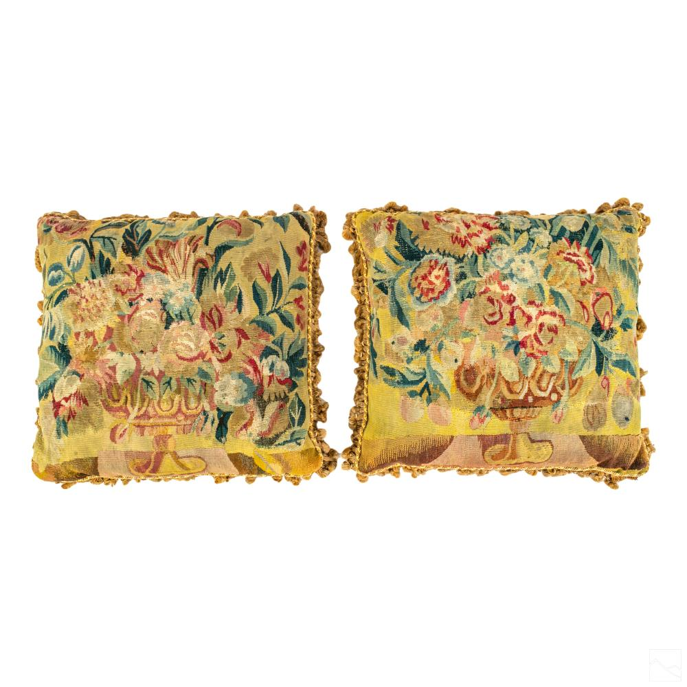 French Style Antique Tapestry Accent Throw Pillows