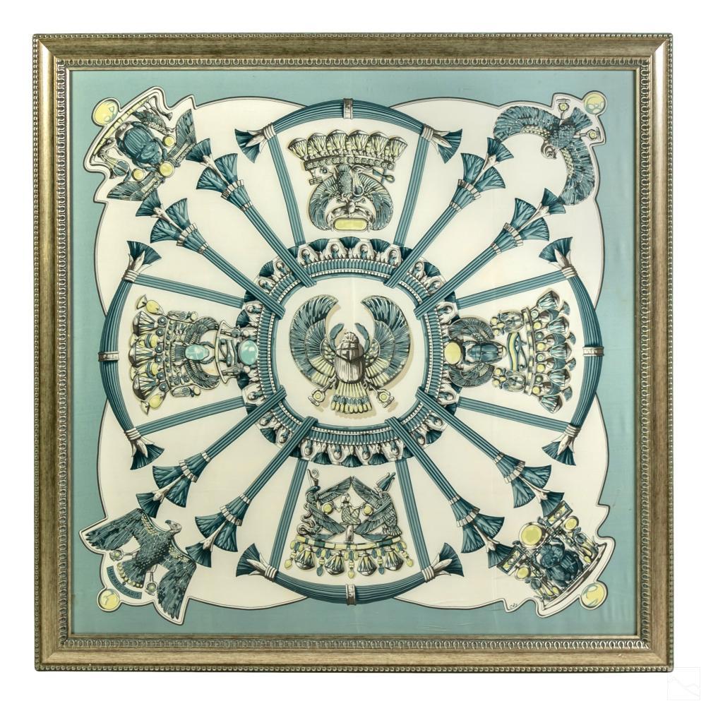 Hermes Framed Egypte Blue French Framed Silk Scarf