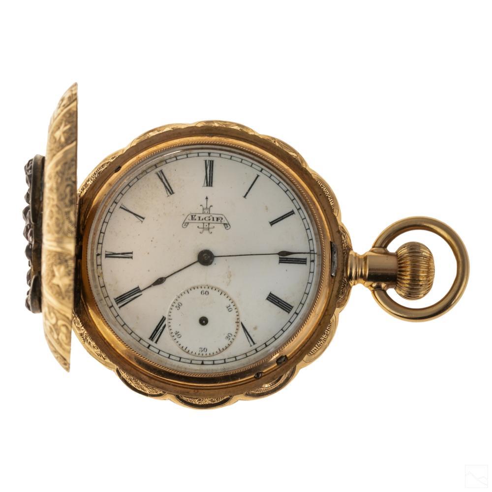 14K Gold Elgin Antique Moon Bird Star Pocket Watch