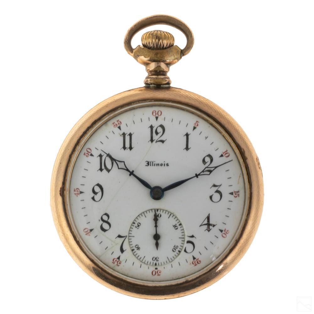 14K Gold Filled 19C. Antique Illinois Pocket Watch