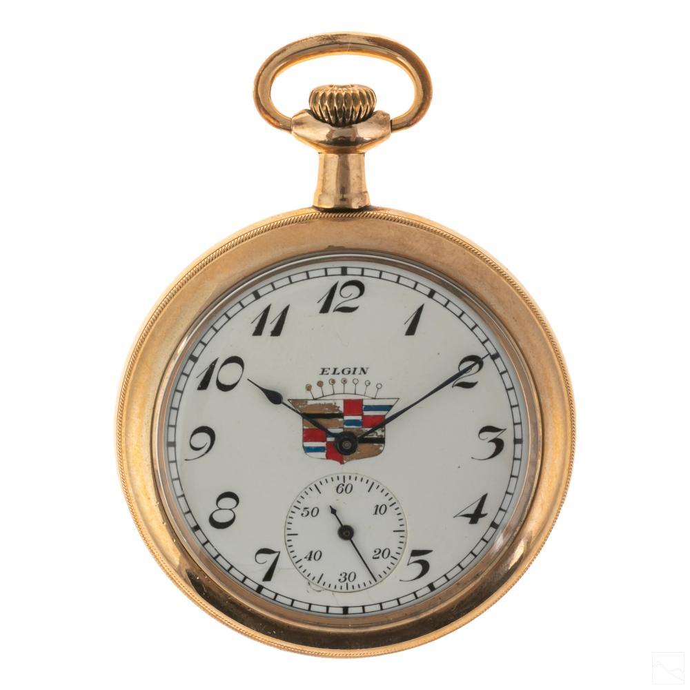 Elgin Cadillac Logo 14K GF Pocket Watch (Working!)